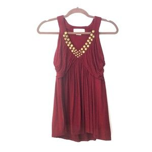 Michael Kors Burgundy Red and Brass Detail Top